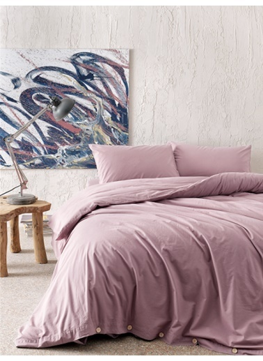 Hibboux 200x220 Vogue Yıkamalı Nevresim + Yastık Kılıfı - Mauve Renkli